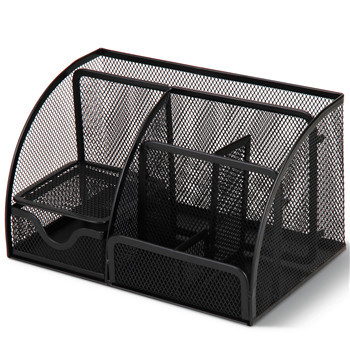 Super Large! Layered Grid Black Metal Mesh Pen Holder for office desk organizer Container with Drawer Stationery Holder(China (Mainland))