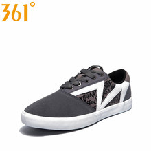 361 Men's Lightweight Breathable Athletic Skateboarding Shoes Spring Leather Patchwork Lace-Up Canvas Shoes 571536806Q1W20