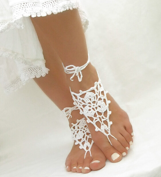 Crochet Barefoot Sandals Beach Pool Wear Toe Ring Anklet Nudeshoes Foot jewelry Victorian Lace Yoga Shoes Bridal Anklet(China (Mainland))