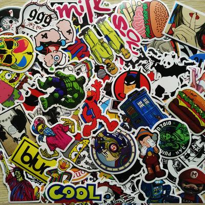 Pick 100Pcs Stickers Mix Style Funny Cartoon Decal Fridge Doodle Snowboard Luggage Decor Jdm Brand Car Bike Moto Toys(China (Mainland))