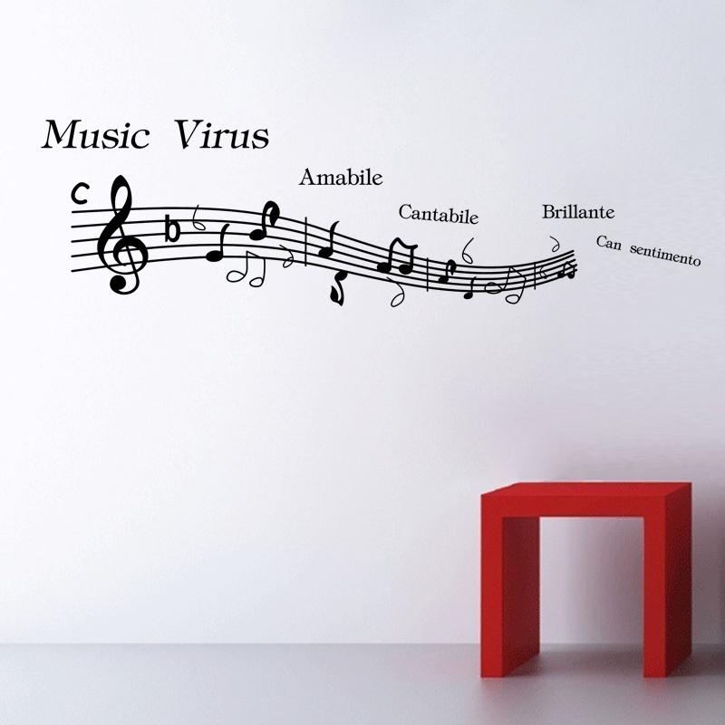 Mejor la venta de música de vinilo decoración de la pared etiqueta de la pared Decal Home Decor Art Mural notas musicales(China (Mainland))