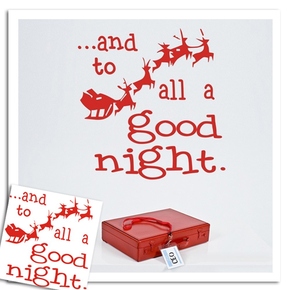Santa Claus Christmas Wall stickers red Deer to all a good night Shop Window Wall Art Decoration Sticker Decal -xmas08(China (Mainland))