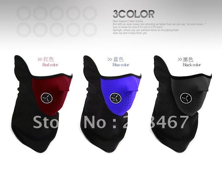 Free shipping 10pcs/lot RED/BLUE/BLACK COLORS Sports Fishing Bicycle Racing Running Skating Skiing NECK WARMER FACE MASK(China (Mainland))