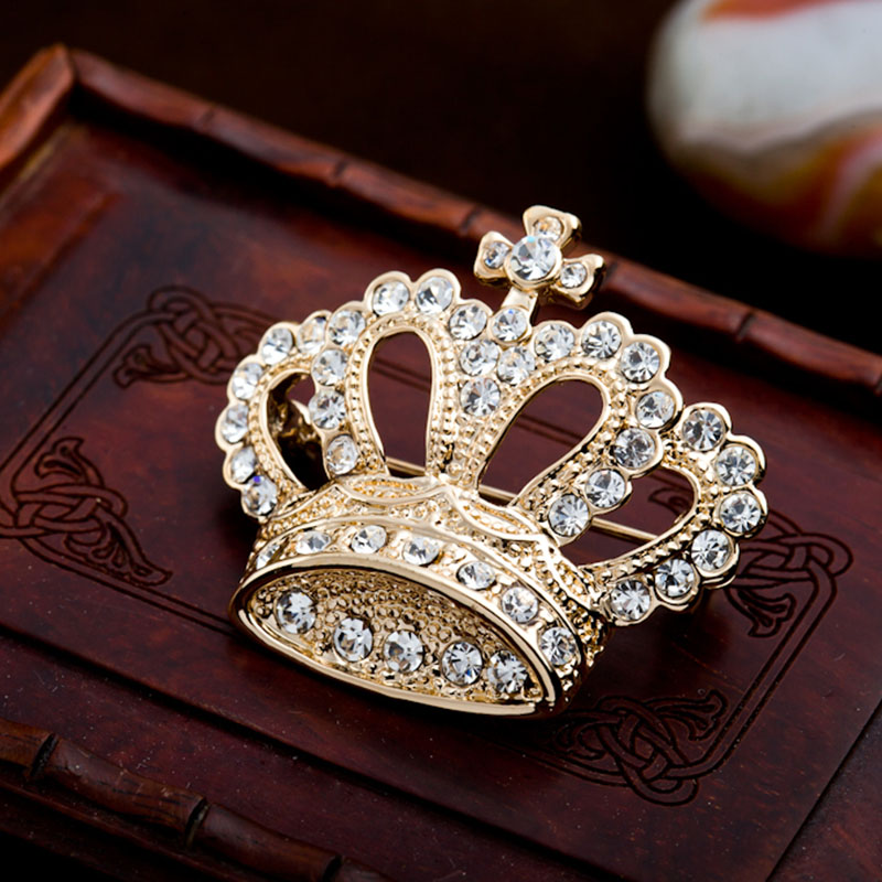 2016 Imperial Crown Brooch For Women&Man Exquisite Alloy Crystal Brooch Pin For Wedding&Party Noble Corsage Ornament(China (Mainland))