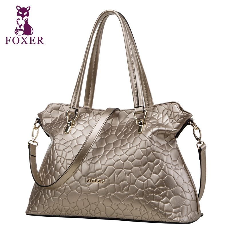 FOXER Fashion Brand Women Bag Top Quality Genuine Leather Handbags Geometric Zipper Women Messenger Bags(China (Mainland))
