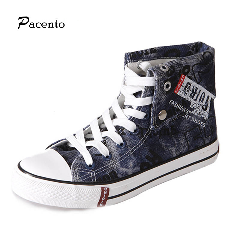 2016 PACENTO Denim Men shoes High Cut Canvas Shoes For Men Fashion Rock Casual Personality Shoe Flats Teniszapatos hombre vestir(China (Mainland))
