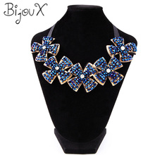 Blue Crystal Flowers Collar Choker Necklace Pendants Summer Style Hand Made Jewelry Colar For Women Charming Gifts Party Wedding(China (Mainland))