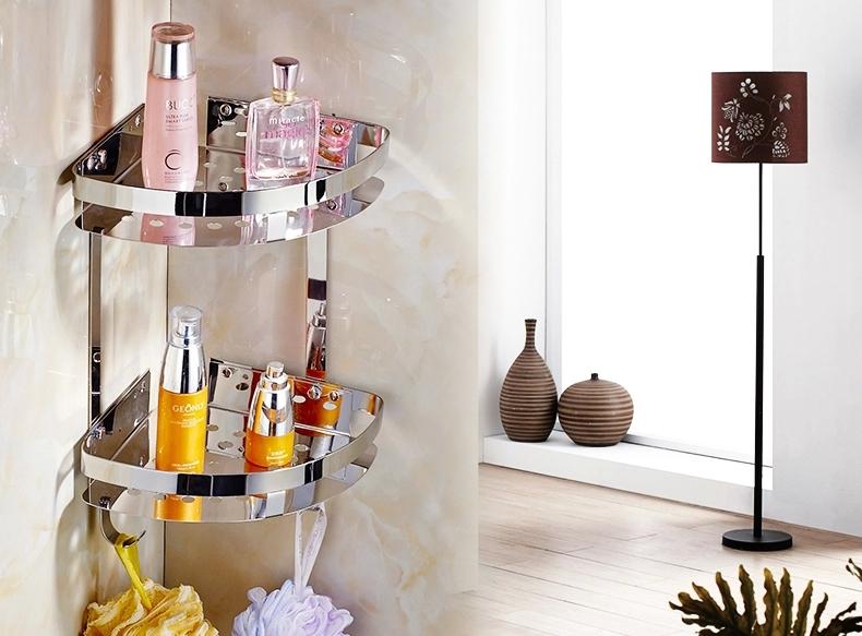 Dual tier wall corner stainless steel bathroom shelf high for Bathroom accessories shampoo holder