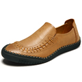 Fashion Slip On Genuine Leather Shoes For Men Korean Casual Cow Leather Shoes