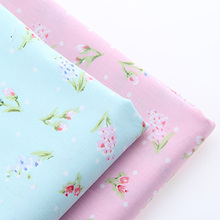 Cotton Fabric For Sewing  DIY Material  For Dress Curtain Doll Bag Telas light Blue flowers and light pink flowers 40*50cm