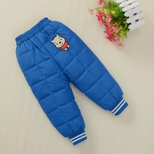 2015 New Cartoon Bear Baby Boy Girl Winter Warm Casual White Duck Down Pants Fashion Korean Children Trousers Kids Clothing(China (Mainland))