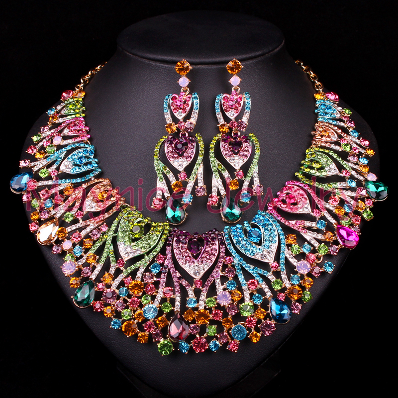 Trendy Peacock Bridal Jewelry Set Wedding Statement Necklace Earring For Brides Party Accessories Gold Plated Decoration Women