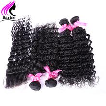6A Brazilian Deep Wave With Closure 3 Bundles With Lace Closure Unprocessed Virgin Brazilian Hair Cheap Brazilian Deep Wave 1B#