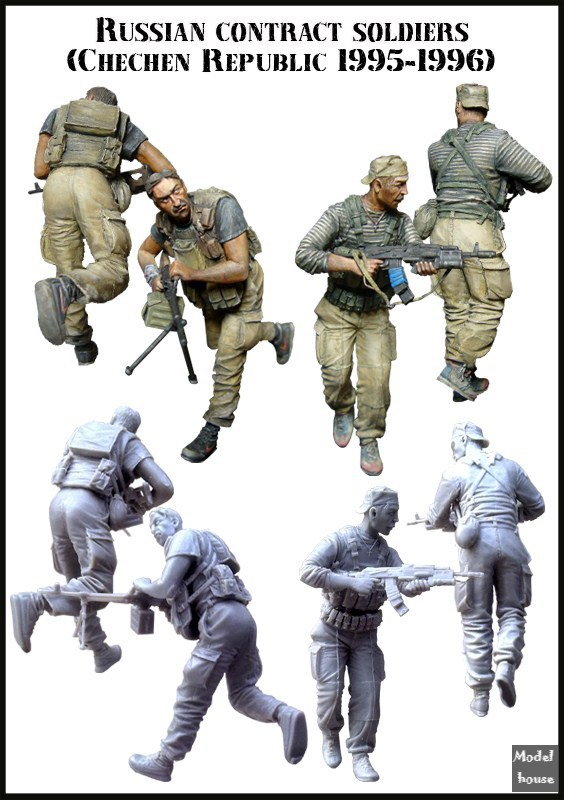 Resin Model EM 1/35 RUSSIAN CONTRACT SOLDLERS DUO Free Shipping(China (Mainland))