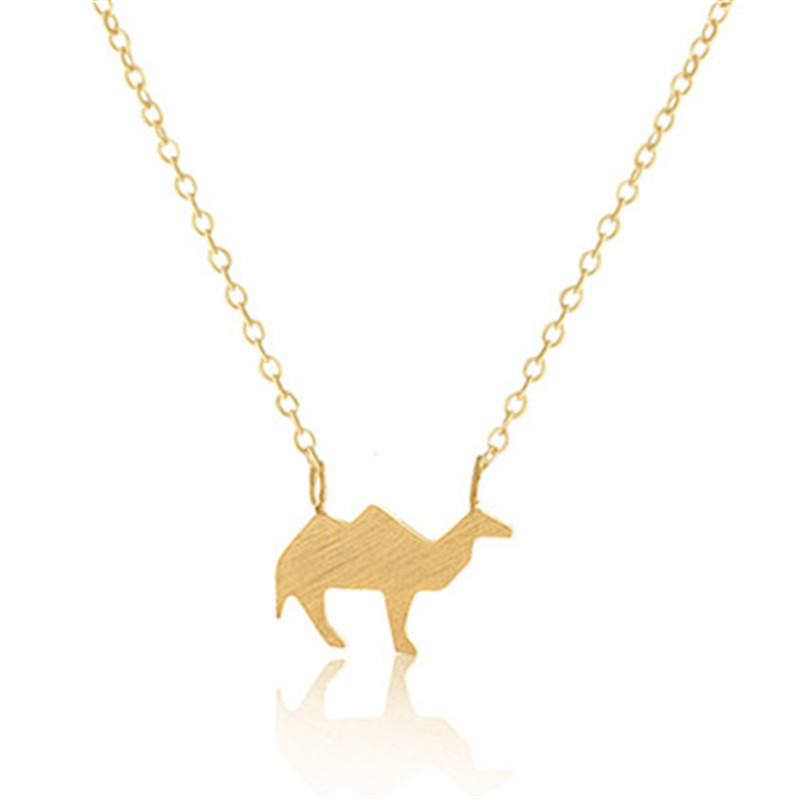 Hot Sell Simple Origami Camel Necklace Stainless Steel Silver Chain Collares Necklace Women Everyday Jewlery(China (Mainland))