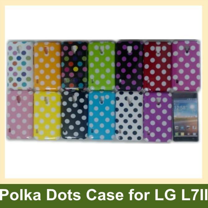 100pcs/lot Polka Dots Cover Case for LG L7 II Soft TPU Cover Case for LG P715(Optimus L7 II)  DHL/EMS Free Shipping
