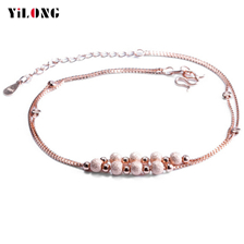 One Piece European And American 925 Sterling Silver Charm Anklets Rose Gold Chain Jewelry For Women Beauty Party Gift Elegant