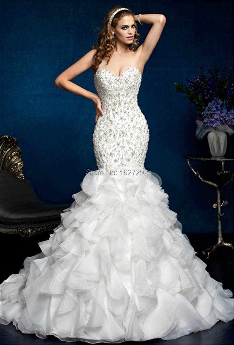 2015 custom made vestidos de noiva white ivory crystal for Beading for wedding dress