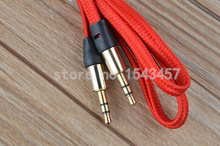 Hypotenuse woven 3.5mm male to male headphone replacement audio cable extension stereo AUX cable for mp3 mp4 music player phones(China (Mainland))