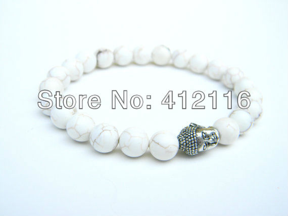 2014 New Arrival High Quality Mens White Howlite Turquoise Stone Buddha Bracelets Wholesale Jewelry<br><br>Aliexpress
