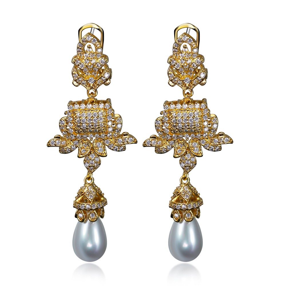 New big drop Earrings gold plated with white cz & imitation pearl Earring women Vintage style fashion jewelry Free shipment(China (Mainland))