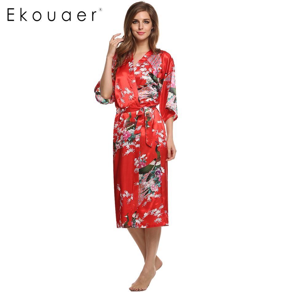 Aliexpress.com : Buy Women Satin Kimono Robe Sleepwear ...