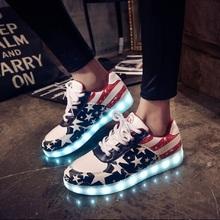LED luminous shoes unisex led glow Women's Fashion Black shoes lover tide shoes Men /Women Leather USB Light Shoes()