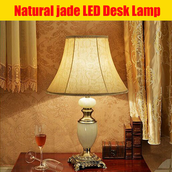 Zinc Alloy base modern bedside Natural jade table lamp with fabric shape and cylinder shade for bedroon light(China (Mainland))