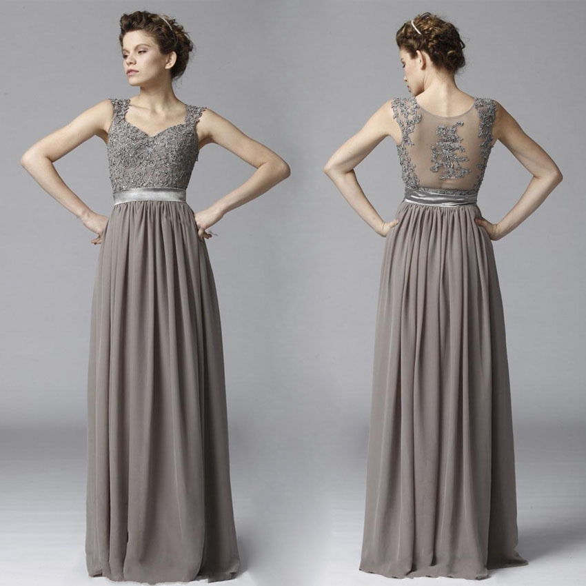 Cheap elegant long gray lace chiffon beach bridesmaid for Gray dresses to wear to a wedding