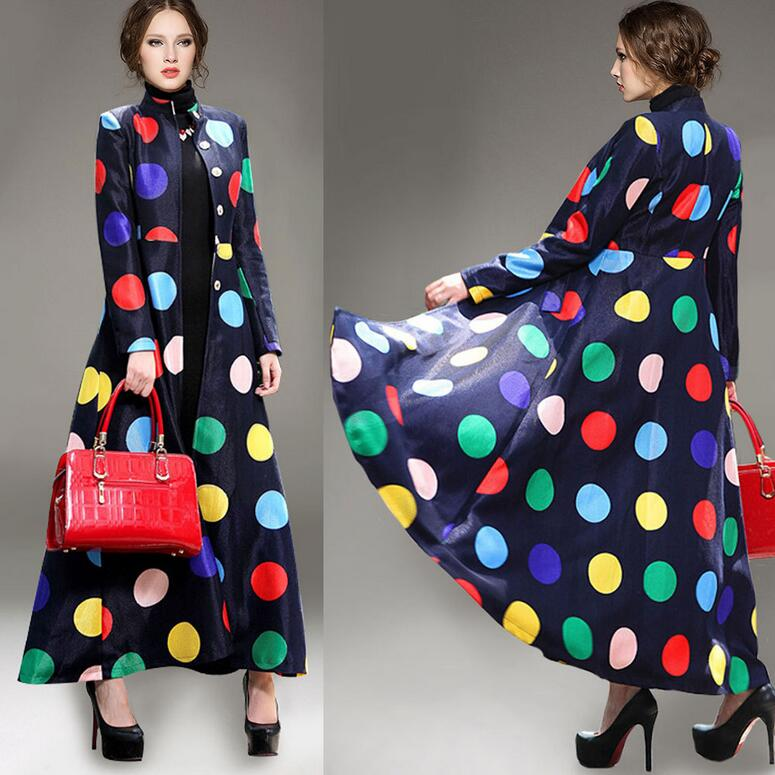 Winter Spring Women Overcoat Single Breasted Elegant Blue Wool Coat Colorful Polka Dot Outerwear Maxi Long Coats manteau femme Одежда и ак�е��уары<br><br><br>Aliexpress