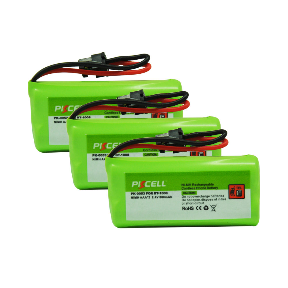 3PCS PKCELL Ni-MH Battery Pack AAA 800mAh 2.4V Ni-MH Rechargeable Cordless Phone Battery for BT-1008 Mitsumi-2P (PK-0053)(China (Mainland))