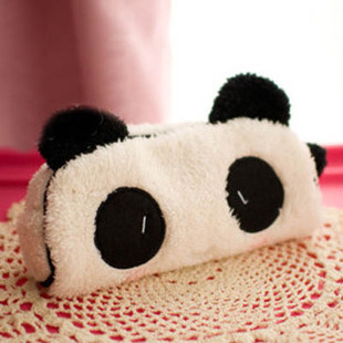 Cute kawaii 3D plush panda pencil case large capacity school supplies noverty item for kids multifunctional free shipping 0017(China (Mainland))
