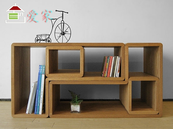 European Style Furniture Simple Modern Solid Wood White Oak Storage Rack Book