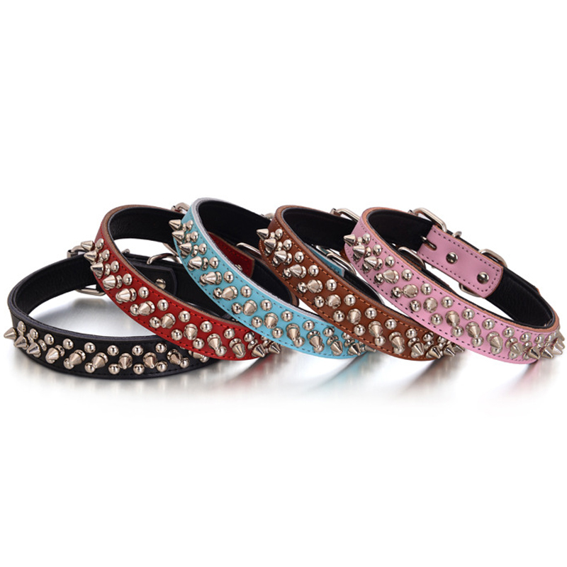 "Cool Genuine Leather Dog Collars with Rivets for Small and Medium Dogs 1"" wide Adjusts for S,M,L(China (Mainland))"