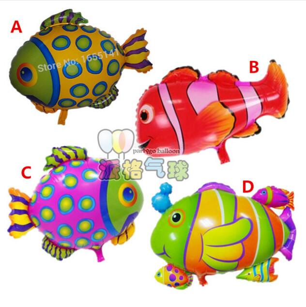 50pcs/lot tropical fish balloon sea creatures Colorful fish inflatable ballons birthday party Ocean animal decor Classic toys(China (Mainland))