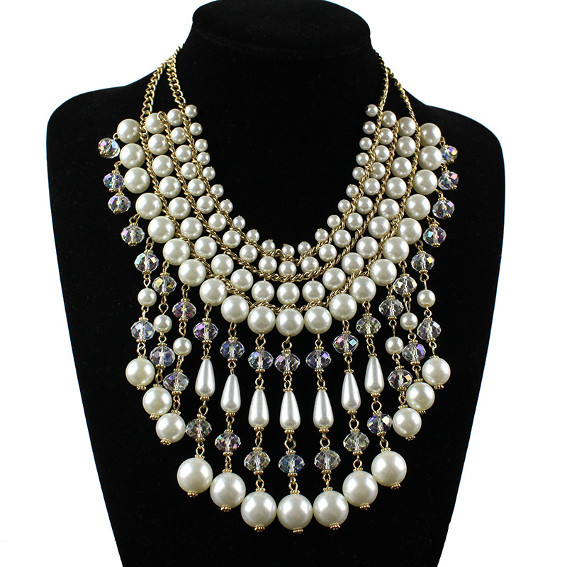Long crystal pearl jewelry necklace for women 2016 fashion jewelry