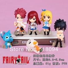 Free Shipping Japan Anime Fairy Tail Lucy Natsu Gray Elza Happy PVC Figures Toys 6pcs/set FTFG005