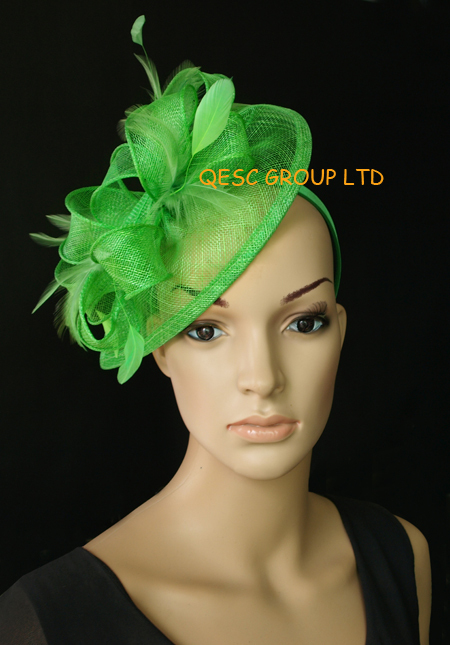 Mint green HOT Sinamay Fascinator/party hat in SPECIAL shape with feather for weeding races party Melbourne Cup.(China (Mainland))