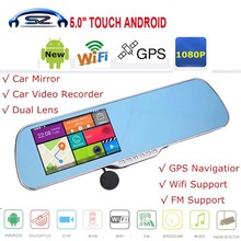 """Sale 5.0"""" IPS Touch Android 4.4 Reversing Rearview mirror video wifi Car DVR Dual Camera GPS camera parking e-dog Dual Lens AVIN(China (Mainland))"""
