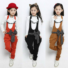 Girls new 2014 Autumn Children Lace Bow Set Casual Long-Sleeve T-shirt & Overalls Sport Suits Baby Kids Clothes Set(China (Mainland))