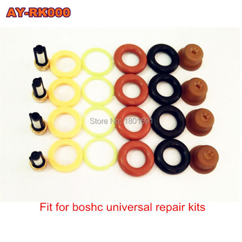 4pieces/set high quality Fuel injector repair kit for bosch universal including micro filter o-ring plastic gasket pintle cap