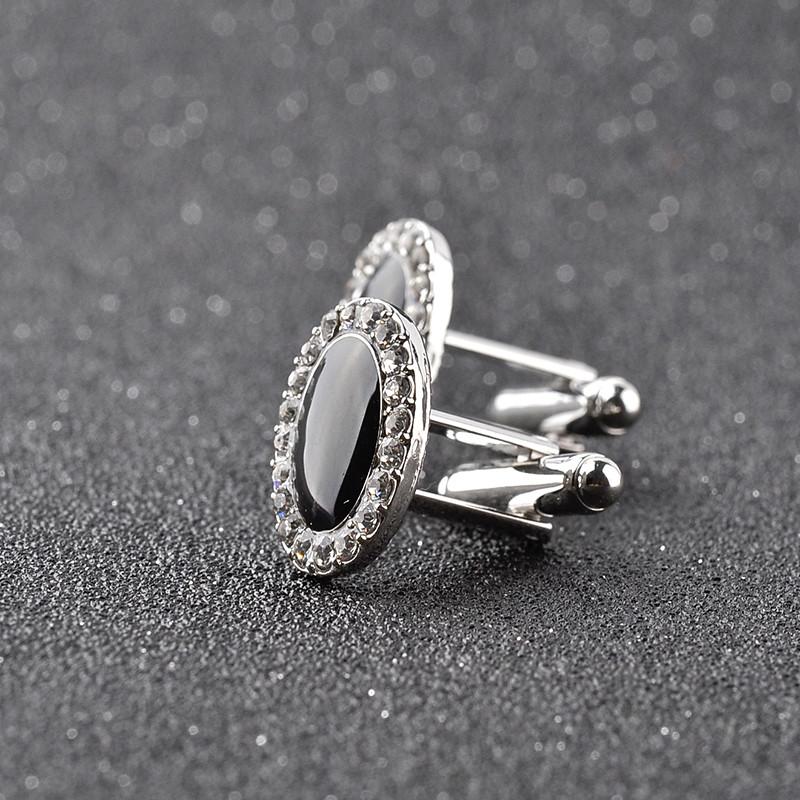 Hot Style Fashion Simple Black Shine Crystal Cufflinks French Cufflinks Nail Men's Shirt Cufflinks Jewelry Christmas Ornaments