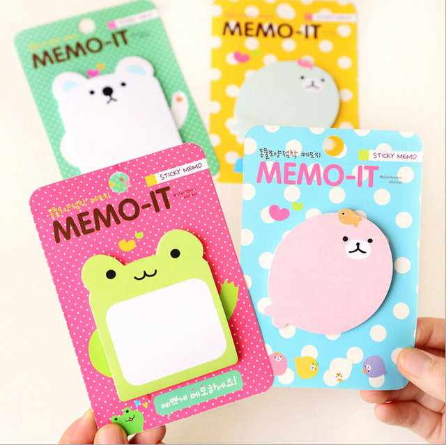4pcs/lot 30sheets/pcs Cute quack corps memo pads, korean stationery animal post it bookmarker flag sticky notes, custome sticker