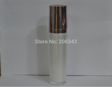 100ml pearl white acrylic press pump lotion.emusion bottle,cosmetic container,press pump bottle with pink lid ,Cosmetic bottle