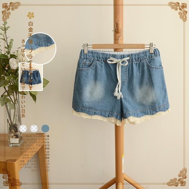 2016 летние джинсовые шорты свободного покроя шнурок джинсовые шорты прямо твердые ...