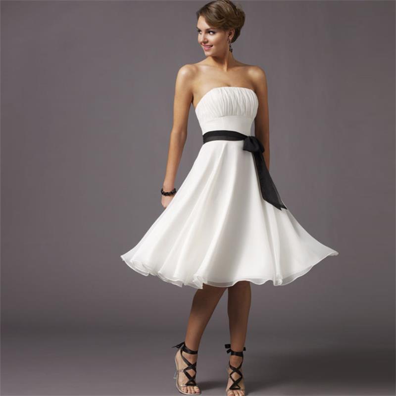 Popular Black Bridesmaid Dress White Sash-Buy Cheap Black ...