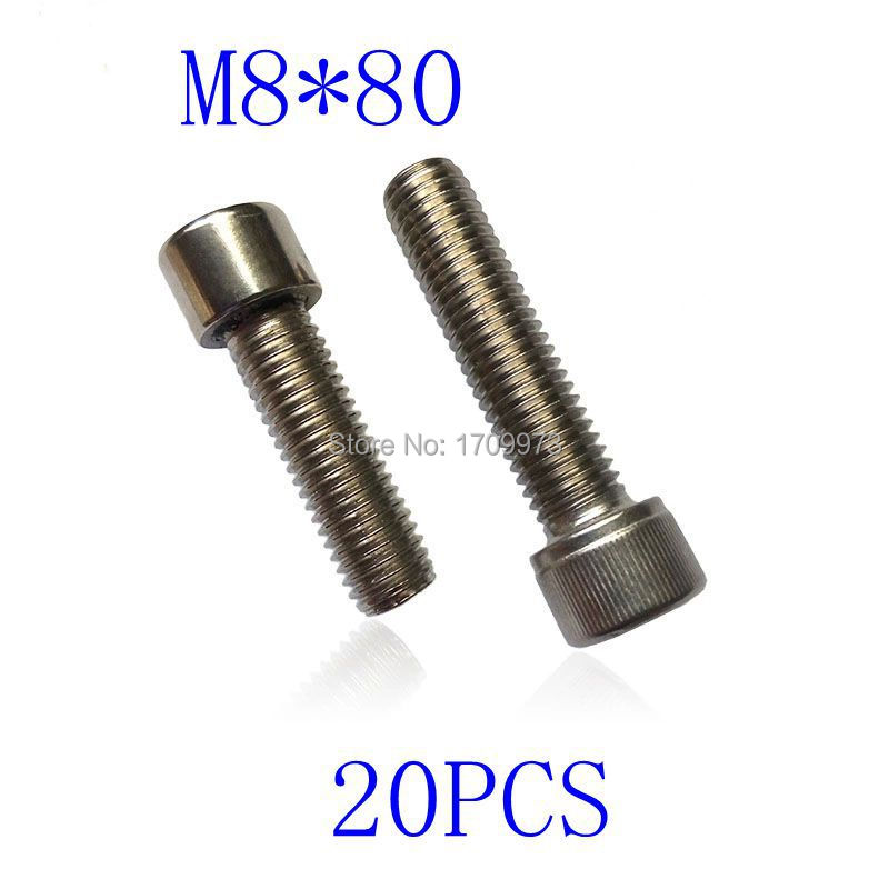 Free shipping  Metric Thread Stainless Steel Screws M8*80mm  Hex Socket Bolt  20 pieces<br><br>Aliexpress