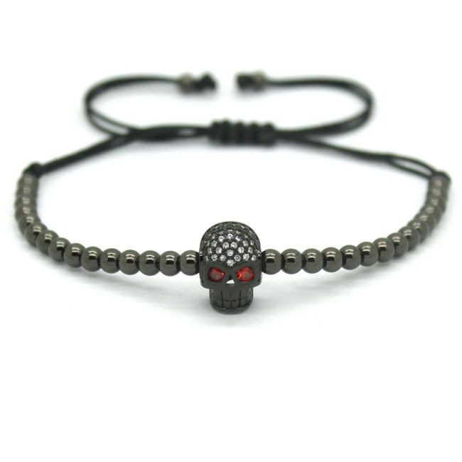 Fashion Men Silver Bracelet 4mm Round Bead Micro Pave Black CZ Evil Eye Connector Braiding Anil