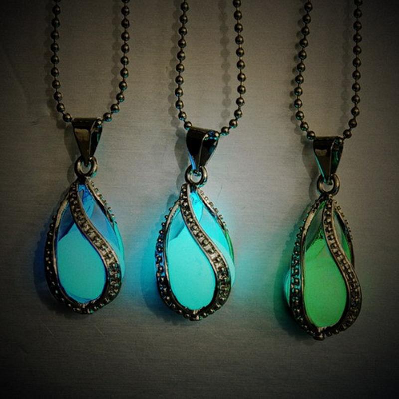 1 PCS HOT Fashion Women Men Couple The Little Mermaid's Teardrop Glow in Dark Pendant Necklace Gift Glowing Jewelry Lovers XL432(China (Mainland))