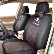 grey/red/black silk breathable Embroidery logo Car Seat Cover For CITROEN C Quatre C Elysee C1 C2 C3 C5 with 2 neck pillows(China (Mainland))